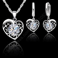New 2015 Shinning CZ Jewelry Sets 925 Sterling Silver Cubic Zirconia Heart Necklace Hoop Earrings Lever Back Party Accessories