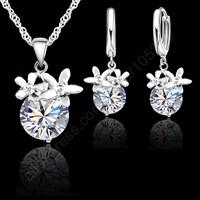 Free Ship 2015 Flower Stone CZ Jewelry Sets 925 Sterling Silver Cubic Zirconia Flower Necklace Hoop Earrings Women Accessories