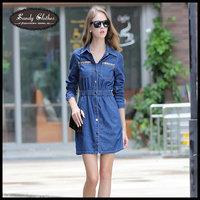 2014 New Fashion Women Denim Dresses Long Sleeve Dress Smoke Banding Denim Dress Plus Size Free Shipping