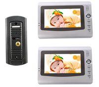 """Waterproof Vandalproof Pinhole Door phone Cameras Panel+7"""" Color LCD DoorPhone Video Intercom 2 Monitors"""