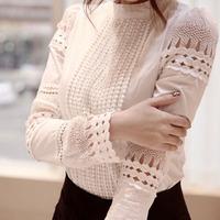 2015 Women China Cheap Clothes Korean Cute Work Plus Size Camisas E Blusas Femininas Cotton Lace Patchwork Stand Collar Blouses