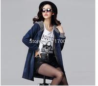 Autumn Woman Trench Coat 2015 Long Sleeve Vintage Cardigans Pocket Korean Loose Hole Fashion Femininos Coat  plus size 4xl