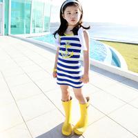 Aones Summer Girls Dress Striped Navy Style Blue Children's Dresses Sleeveless One-piece Fashion Cotton Baby Kids Costume DS083