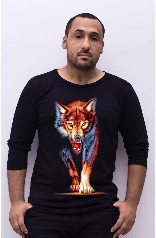 CN Free shipping NEW fashion cotton 3D animal Wolf long sleeve tees shirt print for Casual men tops tees ali3D12(China (Mainland))