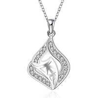 New Designer 925 silver jewelry Set Chain charm Necklace Water Drop pendant hollow out Triangle Crystal Necklace For Women 580