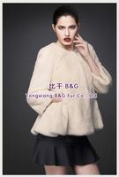 BG80199  2014 Fashionable Genuine Full Pelt Mink Fur  Women's Coat    Luxurious Winter Coat