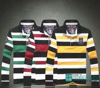 2014 New mens business leisure Paul Lapel long sleeved T-shirt cotton embroidered logo Fashion shark t-shirt SHA-MH3851