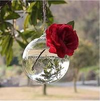 Free Shipping,Wholesale 8cm Round Glass Hanging Vase, Flat Bottom, Ceiling Flower Vase Ball, hanging or table decor, 4pcs/lot