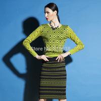2015 spring autumn New Women fashion geometric pullover sweaters skirt suit  long sleeve pullovers sheath pencil slim skirt set