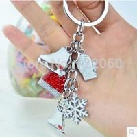 fashion creative jewelry accesories genuine popular Skates&Snowflake Pendant keychain luxury brand keyring Souvenir gifts