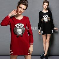2014 autumn and spring plus size owl applique embroidery loose casual dress A-line cute black dress xl,xxl,xxxl,xxxxl,xxxxxl
