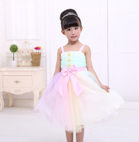 The new girl dress baby dress cute girl bow sling dress. Two colors retail inventory 3Y-7Y