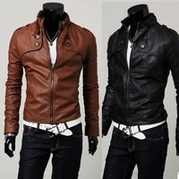 Men Jacket New Spring Autumn Korean Fashion leather jacket Men Slim Zipper Designed Jacket Men's Outwear Imitation Leather Coat