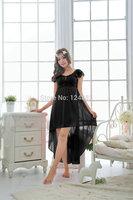 New Women Sleepwear Solid Color Sleeveless Pajamas Soft ice silk Sexy Irregular Nightgown 52558