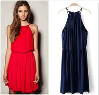 NEW 2015 Summer girl casual cotton dress,vestidos femininos ,Sexy strap dress,black blue red dress,cheap clothes china S-4XL 5XL