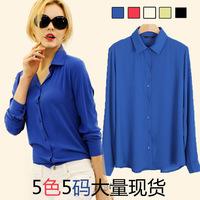 2015 new European Blouse women's V-neck long-sleeved chiffon blouse Fashion solid shirt S8015