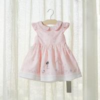 France Brand Design Baby Girls Dress Pink Princess Print Sweet 100% Summer Veil 0-12M Birthday Party Dress Floral Newborn Kids