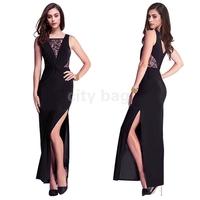 Vestidos Femininos Verao Summer Women Sexy Round Neck Slim Black Lace Party Maxi Long Dress Vestido Festa Renda