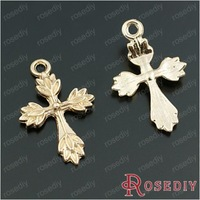 Wholesale 26*17mm Champagne Gold Leaves Cross Alloy Charms Pendants Diy Jewelry Findings Accessories 50 pieces(JM6633)