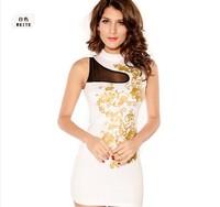 vestido de praia Floral Foil Print Bodycon Dress White sexy party mini Dresses work wear  women dress sexy dress WFD035