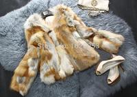Hete verkoop echte rode vos bont jas nieuwe mode, vrouwen, natuur bont van de vos bont jas bovenkleding reële