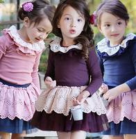 New baby girl spring sweet dress sets:  lace skirt+ ruffles collar back bow T-shirt  princess fashion dress sets , Free shipping