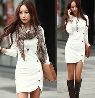 2015 Ladies Elegant Winter Long Sleeve Buttons Slim Hip Casual Autumn Dress Bodycon Dresses Women Work Wear OL Dress Spring