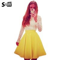 Suewong 2014 New Arrival Fashion 2 Piece per Suit Long Sleeve O-Neck Mini Feminine Dresses with Sexy Lace Hollow Out Decoration