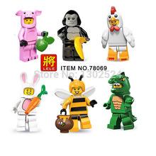 LELE 78069 6pcs/lot  Minifigures Series Piggy Guy Lizard man Gorilla suit Bunny chicken suit Guy minifigure block toys(China (Mainland))
