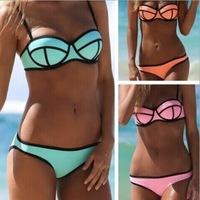 2014 explosion models zipper split swimsuit sexy bikini swimsuit wholesale spell color stitching biquini