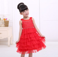 The little girl in red dress cake dress Christmas New Year gift Free shipping high-grade fabric dress children
