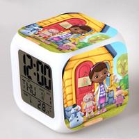 Doc mcstuffins series Alarm Clock 7 Colors Change Digital Flash Touch digital Alarm Clock night colorful glowing toys 12-20-YS