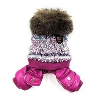 New Pet Clothing High Quality Luxury Fur Coat Bubble Cotton Small Dog Clothes Puppy Warm Winter Fleece Jumpsuit 4 Size S M L XL