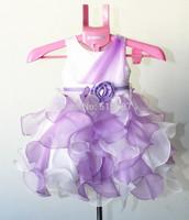 Elegant Girl Violet Sleeveless Bead Flower Girl Dress For Baby Girls Wedding Birthday Party Princess Formal Dress 3-10T