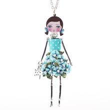 Neway doll necklace dress pendant 2015 new acrylic alloy star girl women multicolor flower figure fashion