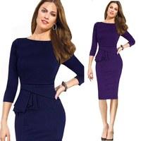 Hot Lady Plus Size Midi Dress ruffles Business Women Work Wear Autumn Dress Winter Party Bodycon Pencil Formal Dresses free ship