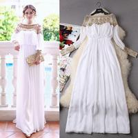 Sexy White Floor Length Luxurious High-end Handmade Golden Beading Banquet Evening Dress Formal Dress 2015 Europe Style