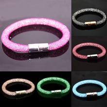 Wholesale Double Stardust Bracelets Mesh Chain Inside Full Crystal Fashion Bracelets Magnetic Wrap Charm Bracelet,Many colors