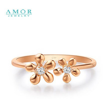 AMOR BRAND THE FLOWER OF LOVE SERIES 100 NATURAL DIAMOND 18K ROSE GOLD RING JEWELRY JBFZSJZ270