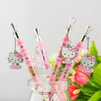 10pcs ballpoint pen lovely Hello Kitty ballpoint pen Metal tag press pen cartoon pen learning stationery   12-22-YS