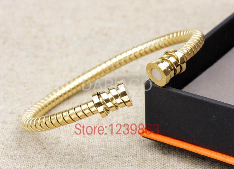 DASB217 Free Shipping 316L steel bangles snake with white zero bracelets gold color fashion bracelet for women bangle(China (Mainland))