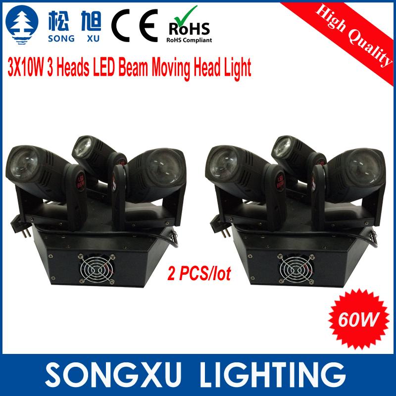 2pcs/lot 3X10W 3 Heads LED Beam Moving Head Light/SX-MH0310(China (Mainland))