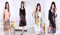 2015 new women's plus fertilizer to increase fifth lantern sleeve loose  chiffon dress big yards casual dress free shipping