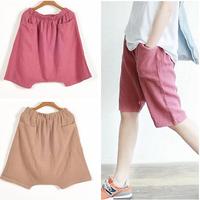 NEW Women loose casual cotton middle long pants & capris,plus size S-5XL black color wide leg pants,sports pants,casual trousers