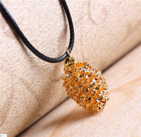 Free Shipping 10pcs/lot-2015 Dainty Valentine's Day Gift Woodland Jewelry Leather Pine Cones Necklace in Gold/Silver