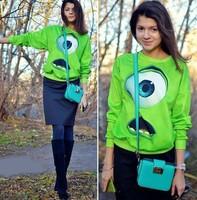 2015 unisex women/men Funny 3d sweatshirt Cartoon Big Eyes Monsters university green Mike print 3D hoodies Pullover clothing