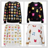 Newest 2015 Women's emoji hoodie Sweatshirt 3d Printed emoji sweatshirts Hoodies sport clothes Casual jogging cotton Tops S-XL