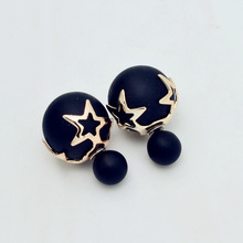 New Fashion jewelry double side matte pearl stud star flower design gift for women girl free shipping mix color E2507