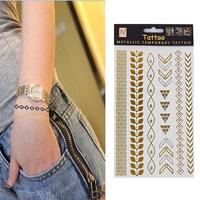 Hot Sale Removable Seven Geometric pattern Temporary Tattoo Stickers Temporary Body Art Waterproof   Metallic tatoo 86357
