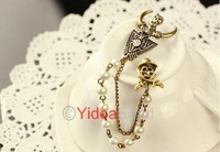 New Fashion Design Vintage Jewelry Pearl Pirate Skull Chain Pearl Brooch Pin 261319